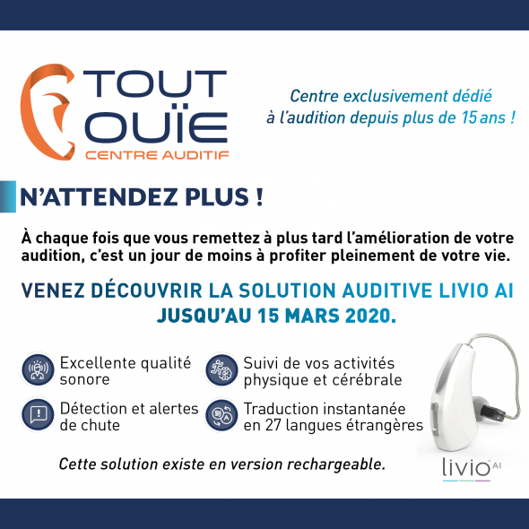 POP UP LIVIO TOUT OUIE aide auditive appareil auditif rechargeable prothese auditive test auditif en ligne surdite perte auditive